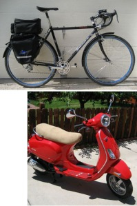 Two wheels good, four wheels bad. But internal combustion still helps.