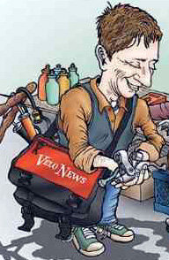 An old VeloNews 'toon by David Brintoni depicting Charles Pelkey at the VeloSwap flea market.