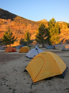 No, it's not another Bibleburg homeless encampment — it's the Souther Arizona Road Adventurers, camping in the town park in Bisbee, Arizona.