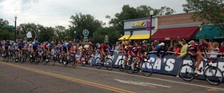 The USA Pro Challenge peloton zips down Tejon Street in Bibleburg in the 2012 edition. Photo: Herself | Mad Dog Media