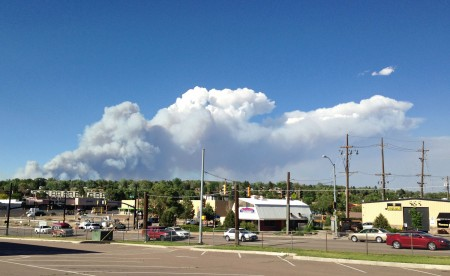 The Black Forest Fire, as seen from the safety of Caramillo Street.