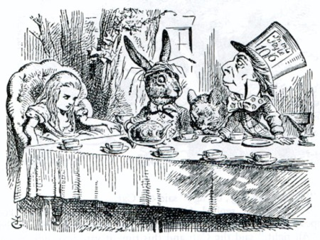 `I didn't know it was YOUR table,' said Alice; `it's laid for a great many more than three.'