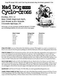 The flier for the 2000 Mad Dog Cyclo-cross in Bear Creek Regional Park.
