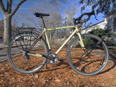 The Cinelli Bootleg Hobo comes ready to ride, with racks, fenders and pedals.