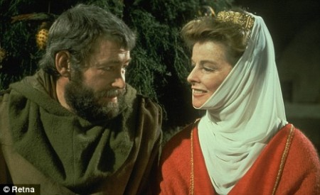 "Peter O'Toole and Katherine Hepburn in ""A Lion In Winter."""