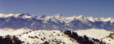 The Sangre de Cristos as seen from the deck of Chez Dog outside Weirdcliffe, in Crusty County.