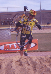 This may be a shot of my final cyclo-cross, in Memorial Park. I rode to the race, without a spare bike, and promptly flatted just a coupe of laps in. DNF.