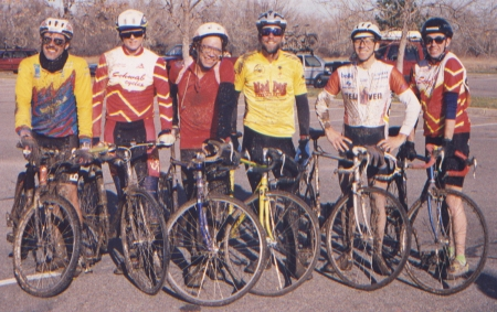 That old cyclo-crossin' gang of mine, following a 1990s race in Fort Collins.