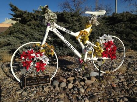 Ghost bike on Washington at Indian School.