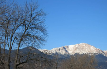 Pikes Peak has a dusting of snow, though the 'hood seems clear ... for now.