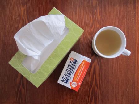 Kleenex and Mucinex and tea, oh my.