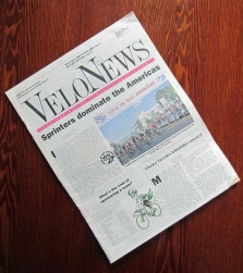 The cover of VeloNews, Vol. 18, No. 3, March 10, 1989, the first issue to contain an O'Grady cartoon.