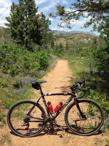 The Bianchi Zurigo Disc atop a descent leading to Bear Creek Terrace.