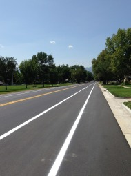 Shiny new blacktop adorns Templeton Gap Road.