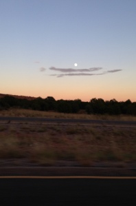 Speaking of moons, I snapped a quick shot of this one through the driver's-side window as Mister Boo and I barreled along north of Pecos.