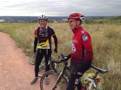 Dennis the Menace and Dr. Schenkenstein take the long view atop Bear Creek East, a once-active cyclo-cross venue.