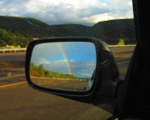 Diamonds on my windshield and rainbows in the rear view.