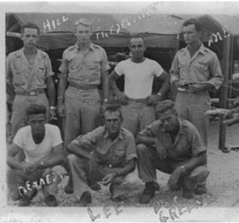 The old man (back row, right) in one of his earliest temporary billets, in New Guinea during World War II.
