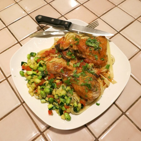 Chicken cacciatore and a side of stir-fried succotash with edamame.