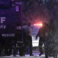 A screen grab from video at the scene of a shooting rampage in Bibleburg.