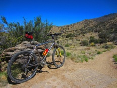 The old DBR Axis TT takes five along Trail 365, a few miles southeast of El Rancho Pendejo.