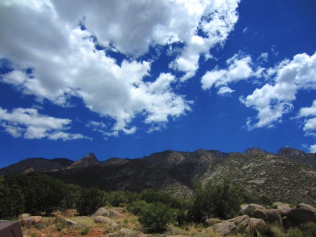 The Sandias from La Cueva Picnic Area.