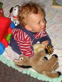 Like father, like son: Young Harrison has his very own burro circa 2005.