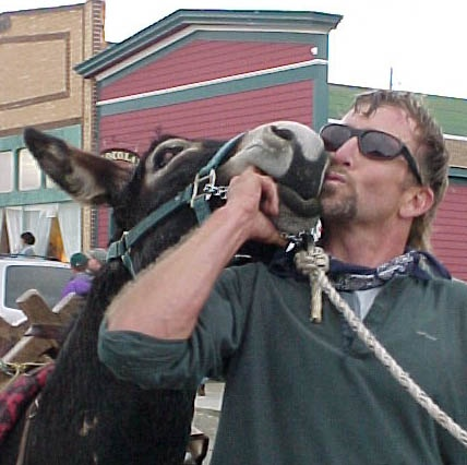 Hal Walter and Spike in 2000, after winning what I believe was their second world pack-burro championship in Fairplay, Colo.