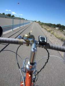 The North Diversion Channel Trail as seen from the saddle of a Rivendell Sam Hillborne.