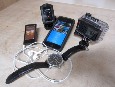 Clockwise from left: The iPod Nano with its fitness app; the Shimano Sports Cam; my iPhone with the cam app open; Garmin's VIRB Ultra 30; and the Timex Metopolitan+ watch and fitness tracker.