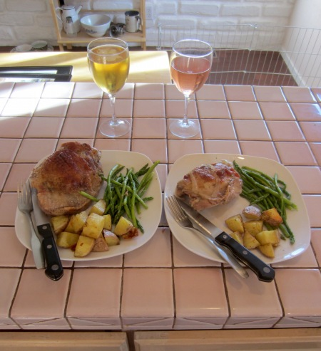 Turkey thighs, taters and asparagus.