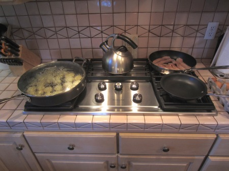 From left, taters, tea, bacon and eggs. Not pictured: English muffins.